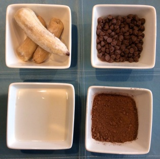 four ingredients for vegan chocolate ice-cream