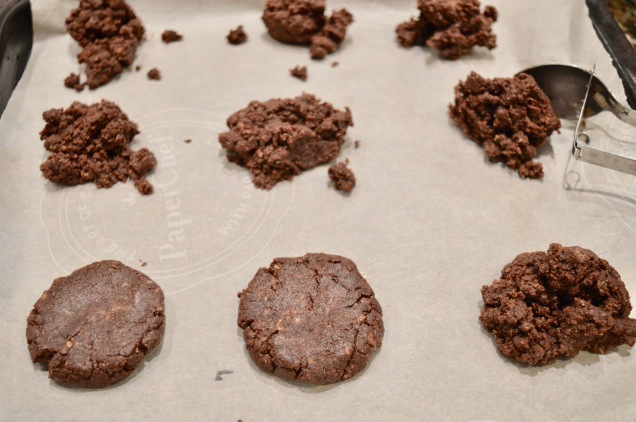 Shaping chocolate almond cookies